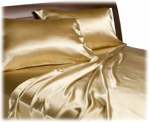 Golden-Gold-Satin-Sheet-Set-Sheets-Queen-King-Smooth-Silky-Bedding-Bed-Bedroom