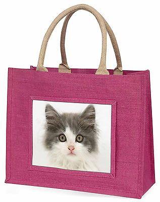 Grau,weiß Kätzchen Gesicht Große Rosa Einkaufstasche Weihnachtsgeschenk