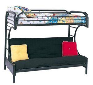 futon bunk bed double deck dorm home room twin metal frame couch loft black ebay. Black Bedroom Furniture Sets. Home Design Ideas