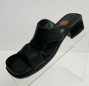 Harley-Davidson-Sandals-Open-Toe-Slides-Block-Heel-Womens-Black-Leather-Shoes-6M