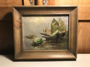 Original-Vintage-Oil-on-Canvas-Chinese-Junk-ship-Signed-by-the-Artist-10-034-x-8-034