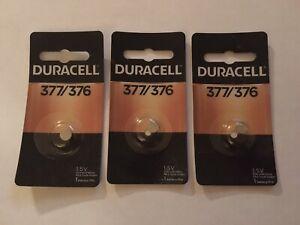 3 Packs Duracell 377/376 (SR66, SR626SW, 376B) 1.5V Silver Oxide Battery