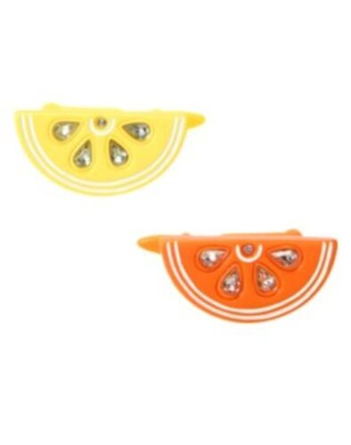 GYMBOREE SUNNY CITRUS SLICE w// GEMS METAL HAIR CLIPS 2-CT NWT