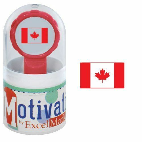 NEW ExcelMark Motivations Pre Inked Teacher StampCanadian Flag Red Ink