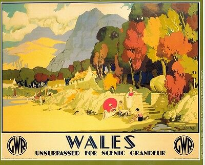 094 Vintage Railway Art Poster Wales  *FREE POSTERS