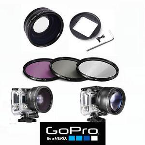 FILTER KIT FOR GOPRO HERO 3 SILVER BLACK WHITE HERO1 HD WIDE ANGLE MACRO LENS