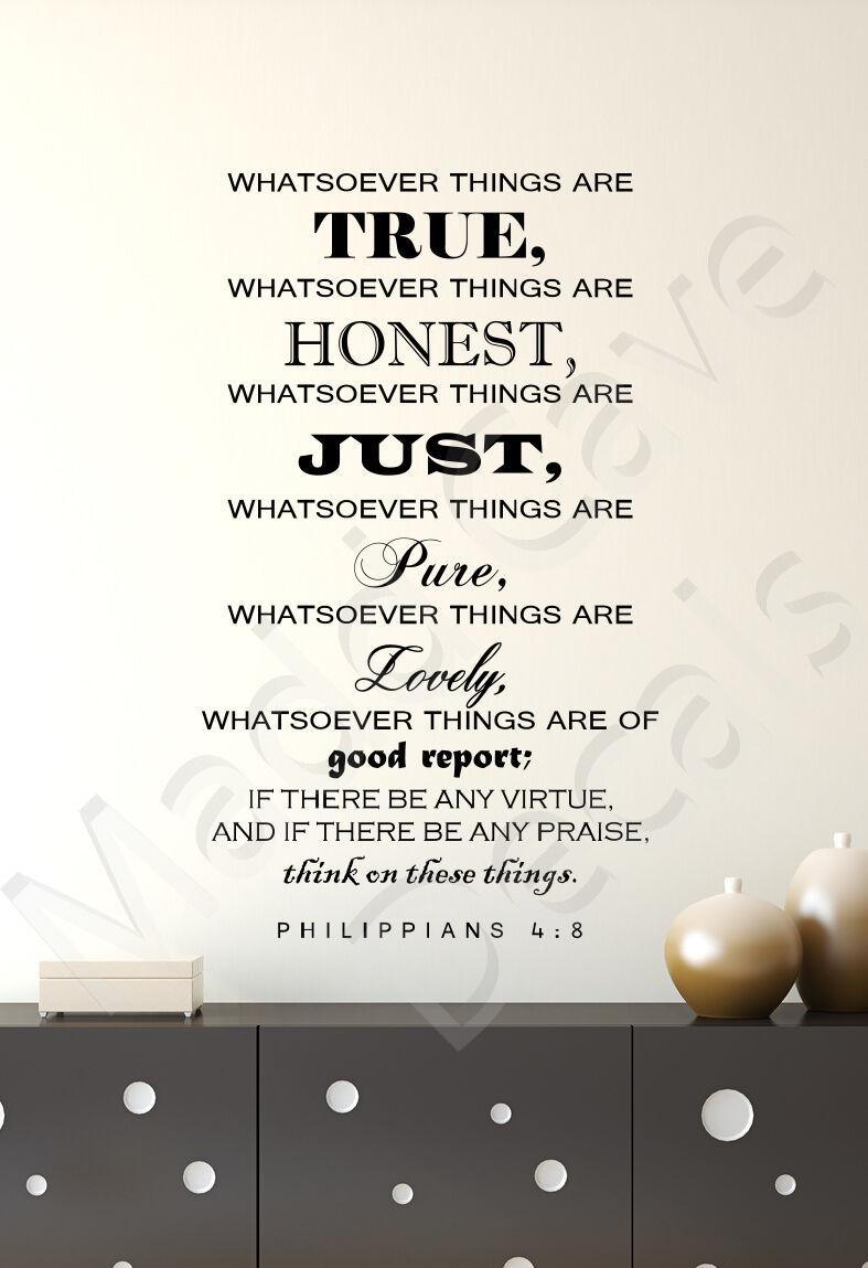 Think On These Things Philippians 4 8 Christian Vinyl Wall Decal Quote Scripture