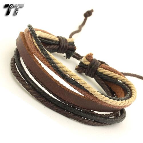STYLISH T/&T Brown Leather Bracelet Wristband NEW LB110