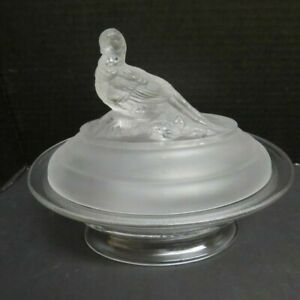 Vintage-Frosted-Pheasant-Top-Oval-Lidded-Candy-Serving-Treat-Dish-Beautiful