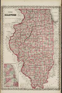 "1867 Colton's  ""ILLINOIS-original, ex-atlas, township map"