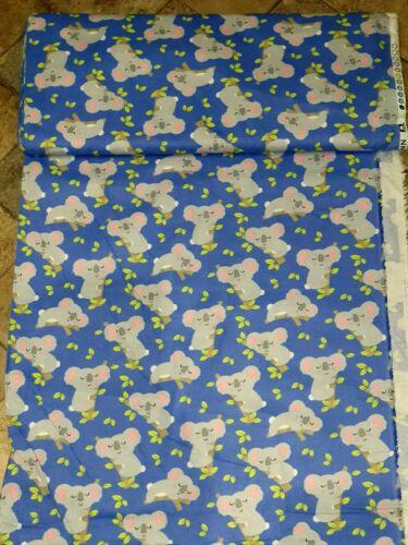 "1m blue koala print  brush brushed  100/%cotton  fabric 42/""wide"