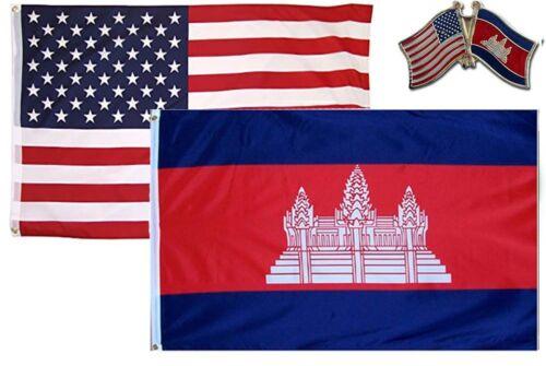 Wholesale Combo USA /& Cambodia Country 2x3 2/'x3/' Flag /& Friendship Lapel Pin