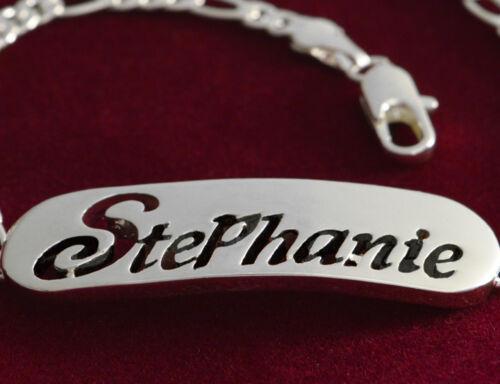 "Pulsera Con Nombre /""Stephanie/"" 18 K oro plateadoPlateadoModa Regalo"