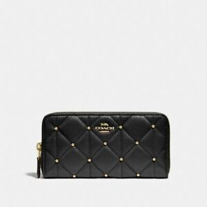 New-Coach-F15763-Accordion-Zip-Wallet-With-Quilted-Calf-Leather-Black