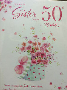 Image Is Loading Sister 50th Birthday Card