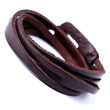 Deep Coffee Leather Wrap Cuff Men's  Bracelet with Metal Hook Clasp (Brown)
