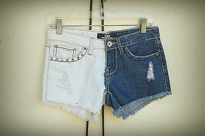 YMI Jeans Size 3 Hot Mini Denim Short Shorts Alter Ego Distressed Studs