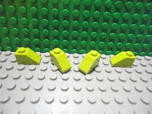 8 1x2 Lime Green Plate w// Half 45 Degree Slope Bricks  ~ Lego  ~ NEW