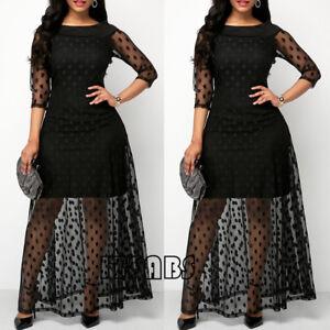 9fb38649bd Plus Size Women Polka Dot Mesh Black Long Maxi Dress Party Clubwear ...