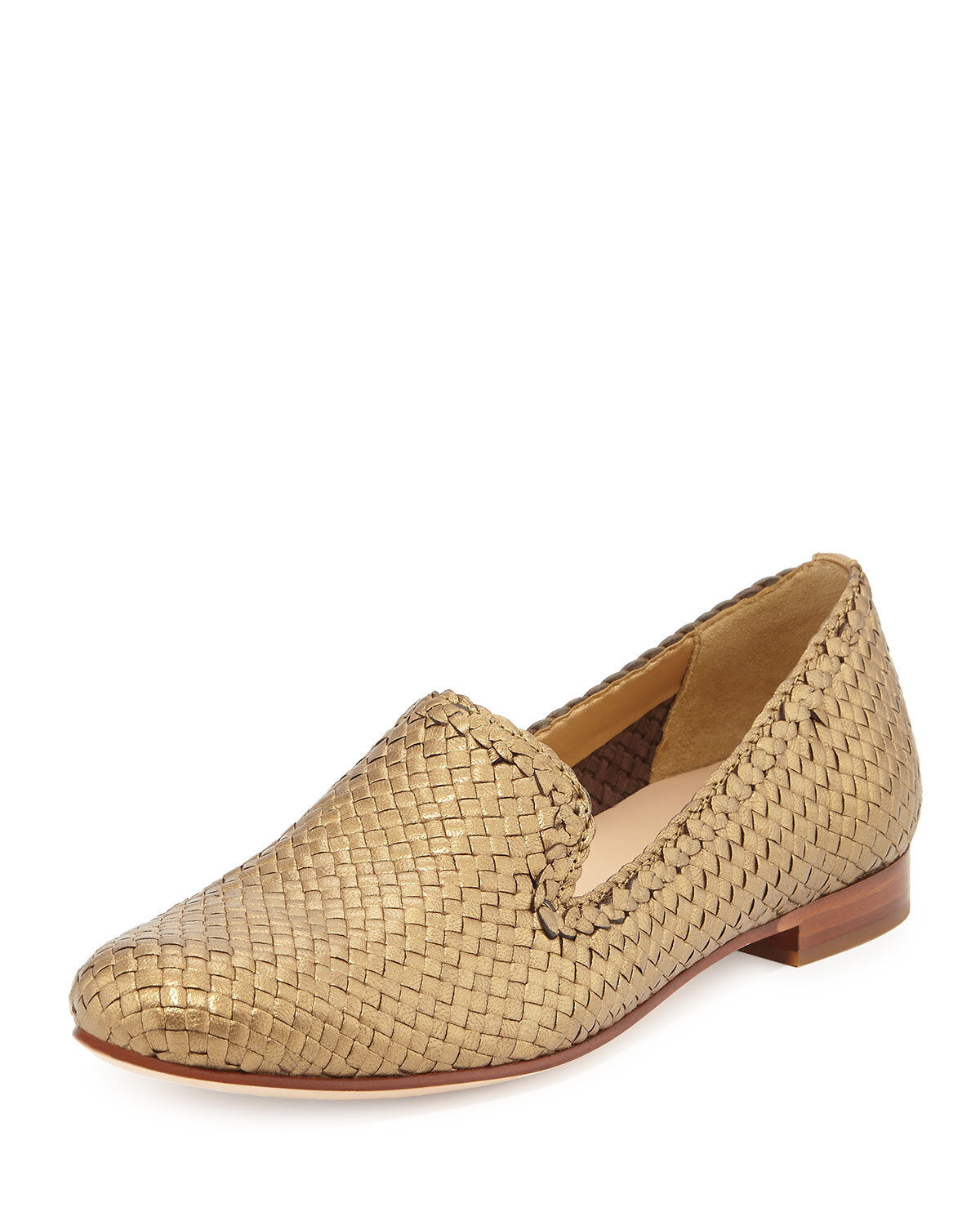 Cole Haan NIB Sabrina Woven Leather Leather Woven Metallic Loafer 10 Flat Glam Shoe Gold $250 12b85a