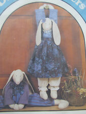 "Primitive Folk Art Sewing Pattern 30"" Rabbits Dolls Draft Stopper Male & Female"