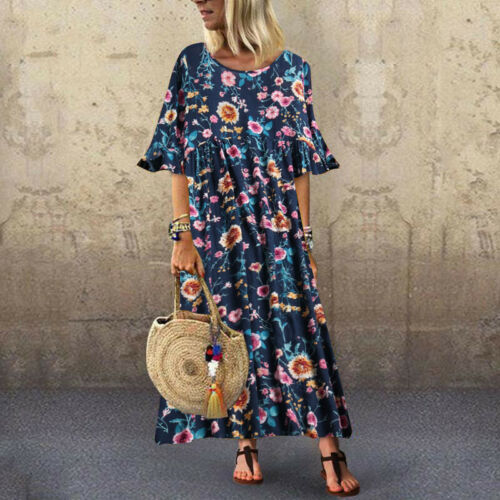 UK 8-24 Women Evening Party Beach Floral Printed Short Sleeve Tunic Shirt Dress