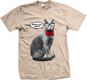 Meow You Doin Cat Sunglasses Bow Tie Cool Doing Wearing Joke