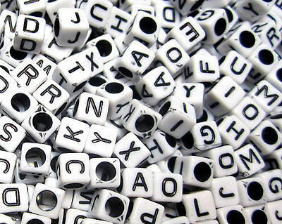 [G2] WHOLESALE 300/500/1000/3000/ A-Z Acrylic Alphabet Beads 6mm Cube