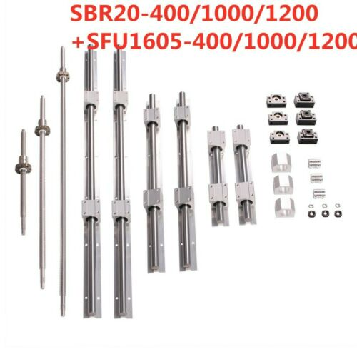 SBR20 Linear Rail Set+3 Ball Screw RM1605 SFU1605 300-1500mm+BK//BF12+Coupler CNC