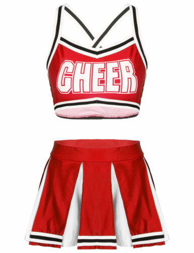 Femmes Cheerleader Costume Uniforme Tenue Fancy Dress Crop Top Mini Plissé Jupe