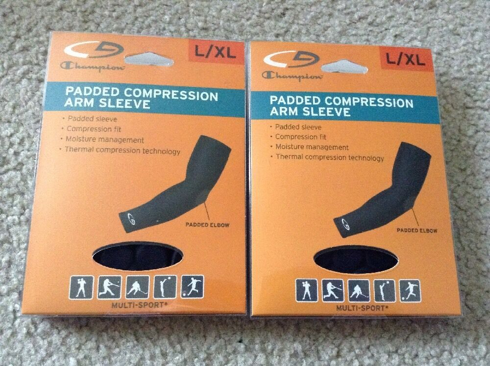 Lot Of 2 New Champion Padded Compression Arm Sleeve Size L   XL