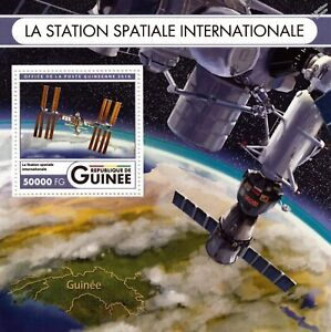 Station Spatiale Internationale (iss) Orbite Terrestre Satellite Timbre Feuille/2016 Guinée-afficher Le Titre D'origine