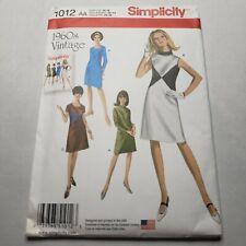 Simplicity 1012 Misses 1960/'s Vintage Dresses Sewing Pattern Sz 10-18