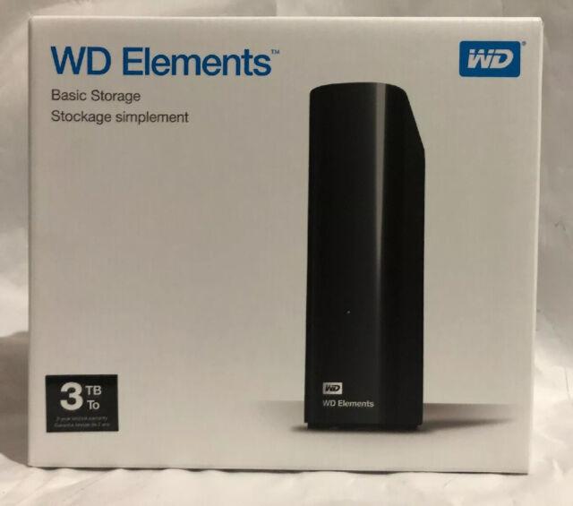 Western Digital WD Elements Desktop 3000GB Black external hard drive.