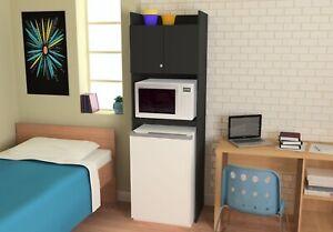 Black Wood Refrigerator Storage Cabinet, Mini Fridge Cabinet For Dorm Room