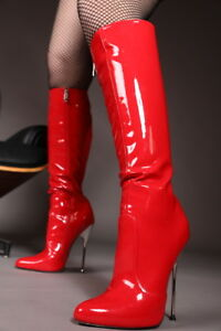 87cac60fd67 Details about Giaro BE BRAVE Red Shiny fetish boots with Silver Heel