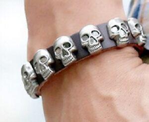 Armbänder Real Black Leather Skull Wristband Wrist Strap Punk Skeleton Head Pirate Uk A108 KöStlich Im Geschmack Uhren & Schmuck