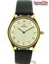 Concord San Remo Gold Tone Roman Off White Dial Leather Quartz Dress Men's Watch