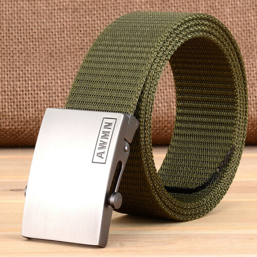 "1.5/"" Mens Nylon Webbing Belts Outdoor Casual Slider Buckle Trousers Waist Straps"