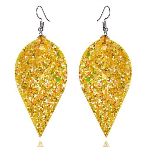 Chic Sequins Leaf Double Real Leather Earrings Ear Stud Dangle Hook Drop Jewlery