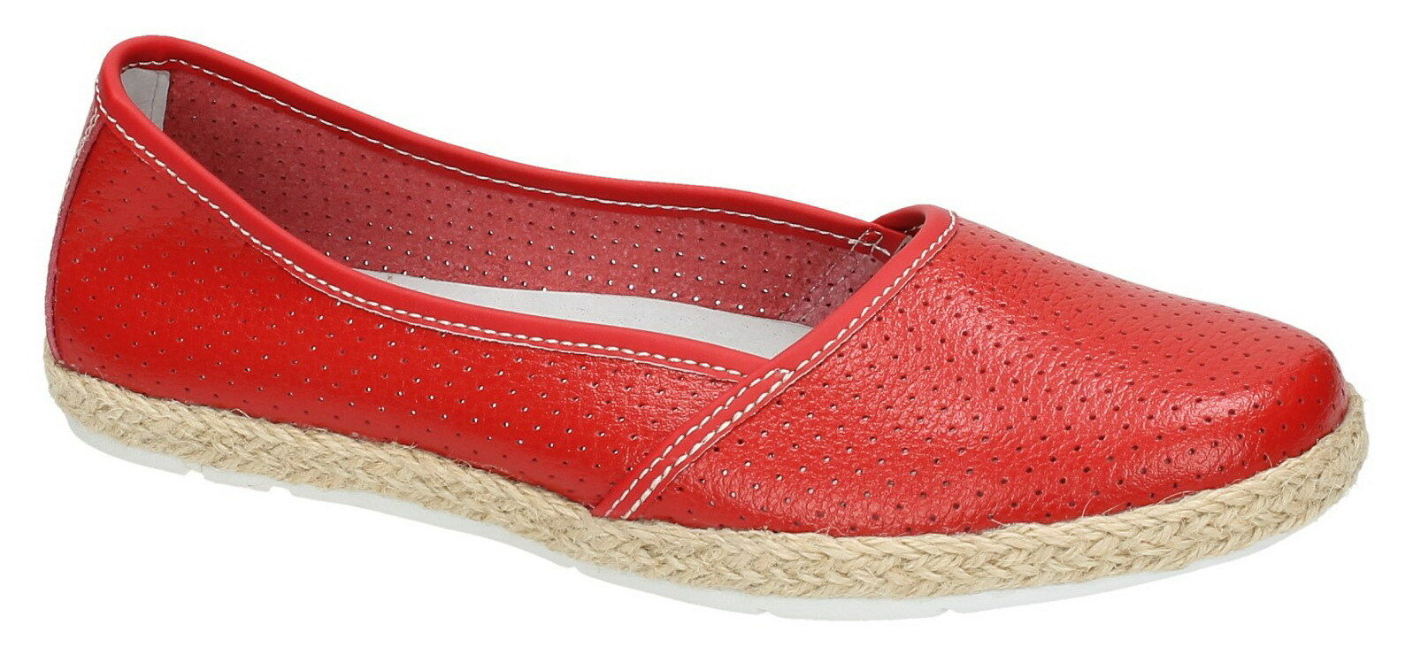 Down To Earth F80161 Ladies Red Slip On Leather Casual Espadrille shoes