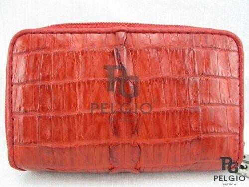 PELGIO Genuine Crocodile Skin Leather Keychains Coins Wallet Zip Purse Red