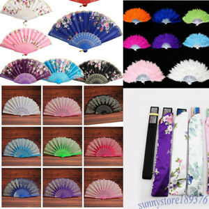 Lace-Fabric-Feather-Folding-Hand-Held-Dance-Fan-Party-Wedding-Art-Acc-Tool-Kit