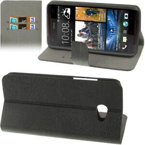 Book-Tasche-Wood-fuer-HTC-Butterfly-S-9060-in-schwarz-Etui-Huelle-Case-Schutzcase