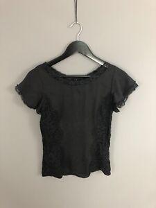 DOLCE-amp-GABBANA-Top-Size-UK8-Black-Silk-Great-Condition-Women-s