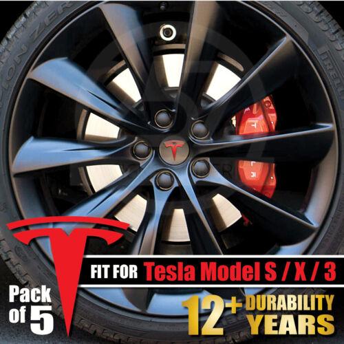 "X 5pcs 3 Wheel Center Cap Rim Logo /""T/"" Decals Emblem Sticker Tesla Model S"