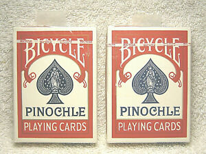 2 - VINTAGE BICYCLE PINOCHLE 48 CUSHION FINISH RED PLAYING CARD DECKS NEW SEALED