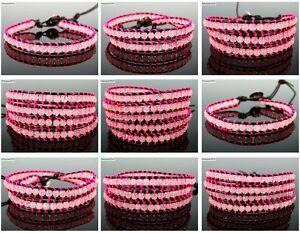 Handmade-Natural-Rose-Quartz-Gemstone-Beads-Wrap-Leather-Bracelet-Healing-Reiki