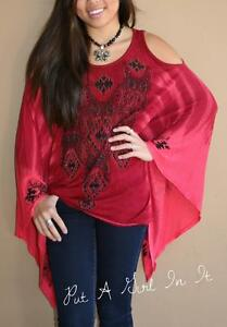 VOCAL-CRYSTAL-RED-BLACK-AZTEC-TIE-DYE-COLD-SHOULDER-WING-TUNIC-SHIRT-USA-S-M-L