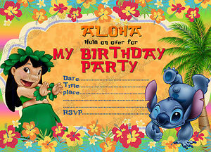 Birthday Party Invitations Lilo And Stitch Summer Party Lilo